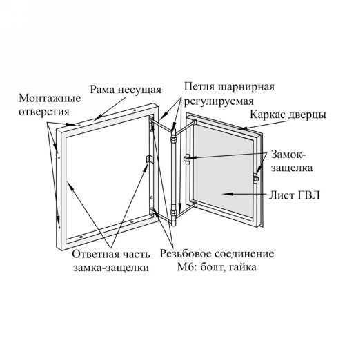Нажимной люк под плитку (серия РРЗ) 500х800